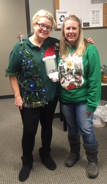 Ugly Sweater contest Kari Ann Nelson and Lindsay Hoyt CIL 2017